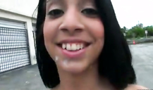 Sexy 18 YO teen Latina gets facial on her mouth in public place