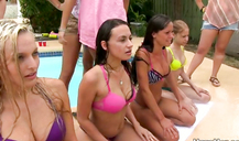 This is a real pool porno party with sexy teen ladies