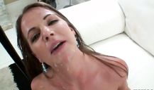 Modest girl with huge tits sucked dick and got a facial