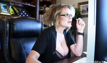 Nerdy blonde fucks in her wide-opened mouth like a slut