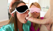 Blindfolded whore getting face-fucked in CFNM secret video
