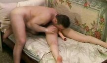 Excited man with pleasure licks ass his horny wife