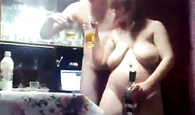 Astonishing busty drunk woman is revealing her massive naked melons