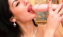 Ultra glamorous Russian milf is blowing her rubber dildo