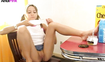 Sweet pussy of a young babe Andi Pink is looking so juicy