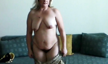 Massive saggy tits and hairy pussy of a slutty milf