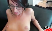Skinny ex in sexy glasses has her young vagina and anal hole pumped