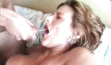 Sexy young girlfriend with red lips gets a huge facial load