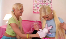 Cute pigtailed teen Lil Lexy strokes and fingers her step sister's snatch