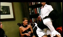 Horny muscled boss fucks an elegant nylonic maid in the doggy style