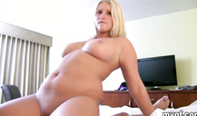 Curvy BBW blonde hottie is a great fucker with shaved pussy