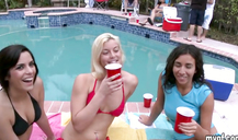 Passionate sex party near the pool with busty and flat chested college babes