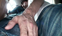 Slutty Asian babe is groped in the public transport by her nipples and young cunt