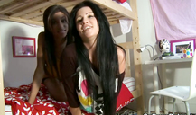 Skinny and stunning college hotties are screwing each other around on webcam