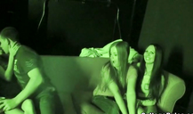 Wild sex party with three amazing college babes and their boyfriend