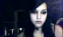 Black-haired Emo girlfriend teen is trying to seduce on skype