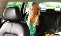 Horny blonde sucking juicy dick of a horny taxi driver